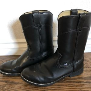 "Justin 10"" black western round toe roper boot"